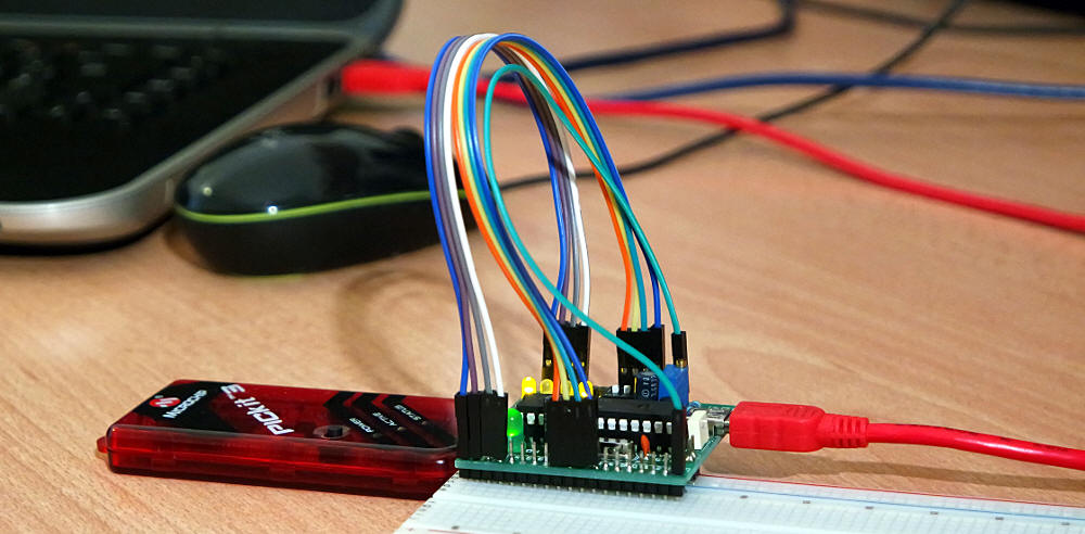 PIC-USB connesso al bus USB, al PICkit e alla breadboard